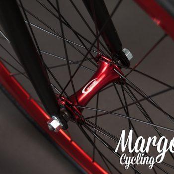 Ruota anteriore e mozzo bici fixed rosso anodizzato