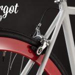 Freno posteriore bici fixed bianca cerchi rossi