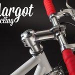 Gruppo stem leve freno di bici a scatto fisso su manubrio rosso