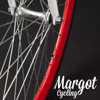 Dettaglio ruota anteriore bici single speed bianca con cerchi rossi