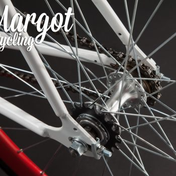 Mozzo flip-flop bici bianca cerchi rossi