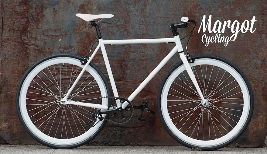 Fixed bike cerchi bianchi e telaio fosforescente
