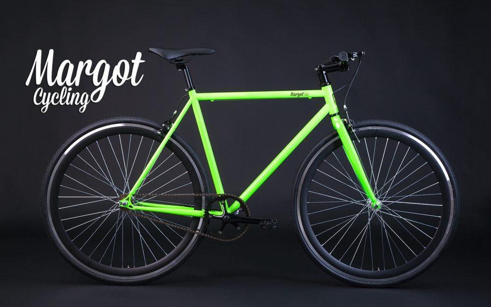 Bici flip flop con telaio verde fluo