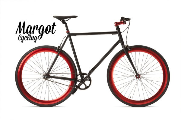 Bici a scatto fisso nera e rossa - Telaio nero con cerchi rossi anodizzati