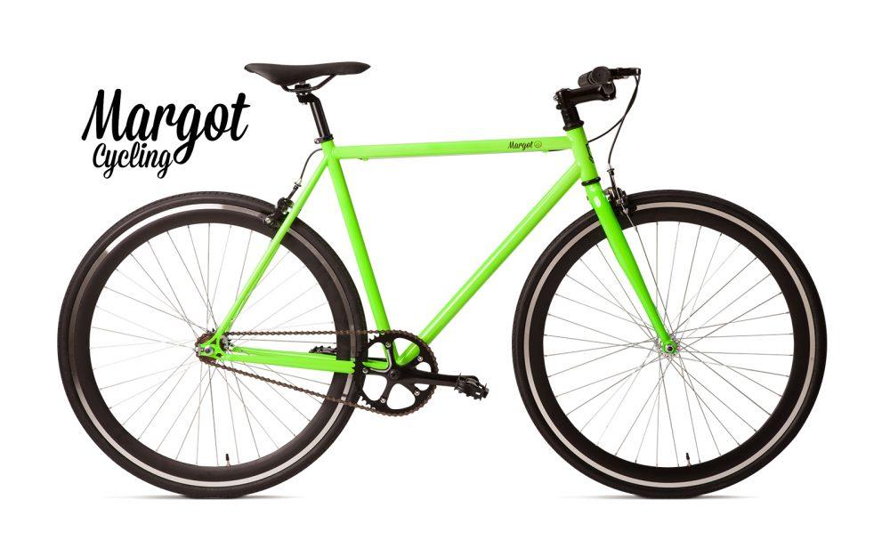 Bici a scatto fisso verde fluo - Telaio verde fluo e ruote nere