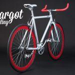 Fixie single speed telaio bianco cerchi e manubrio rosso