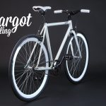 Bicicletta bianca luminosa al buio prospettiva retro
