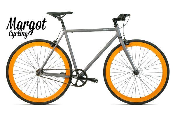 Bici a scatto fisso grigio e arancio - Telaio grigio con cerchi arancioni