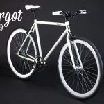 Prospettiva bici fixed bianca fosforescente