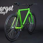 Bicicletta fissa verde prospettiva retro