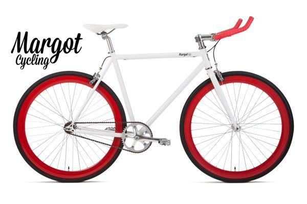 City bike a scatto fisso rosso e bianca