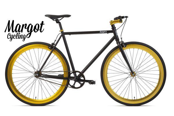 Bici a scatto fisso nera e oro - Telaio nero con cerchi giallo oro anodizzati