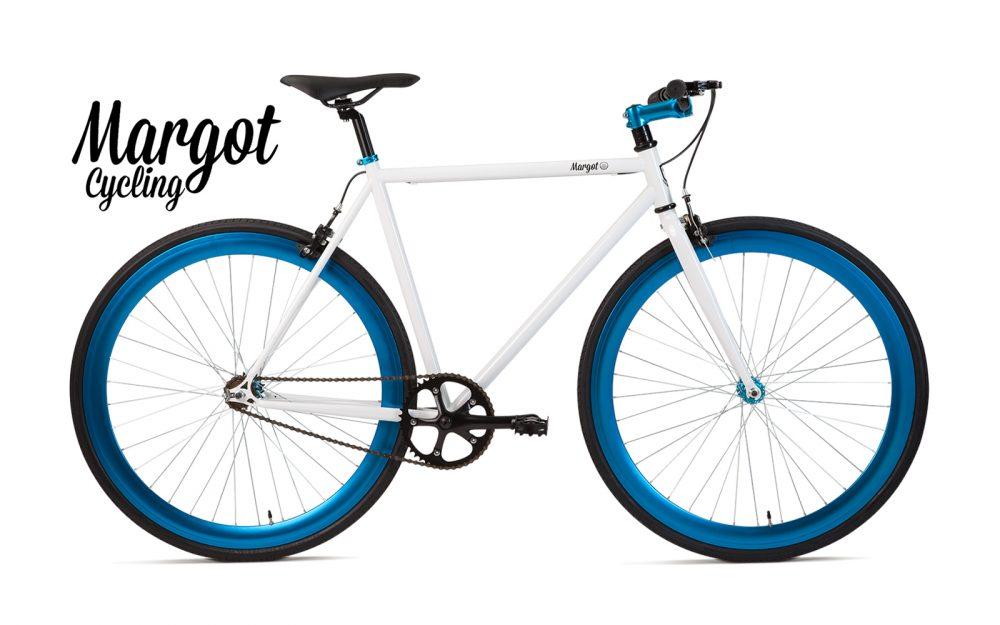 Bici a scatto fisso bianca e blu - Telaio bianco con cerchi blu anodizzati