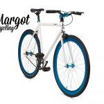 City bike a scatto fisso bianca con cerchi blu