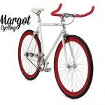 City bike a scatto fisso bianca con cerchi rossi