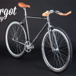 Fixie single speed cromata in prospettiva anteriore
