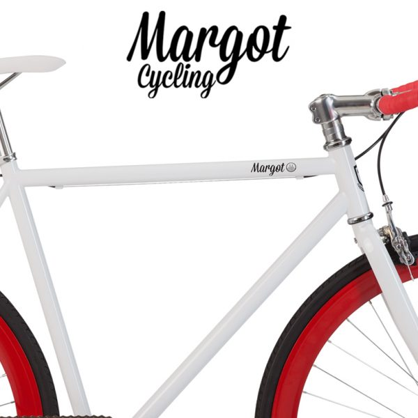 Telaio bianco e cerchi rossi bici fixed