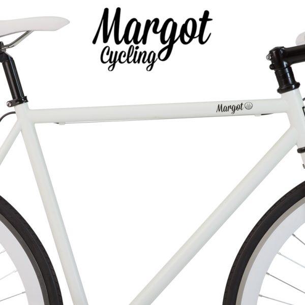 Telaio bianco fosforescente al buio bici fixed