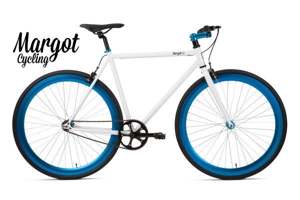 City bike a scatto fisso bianca e blu