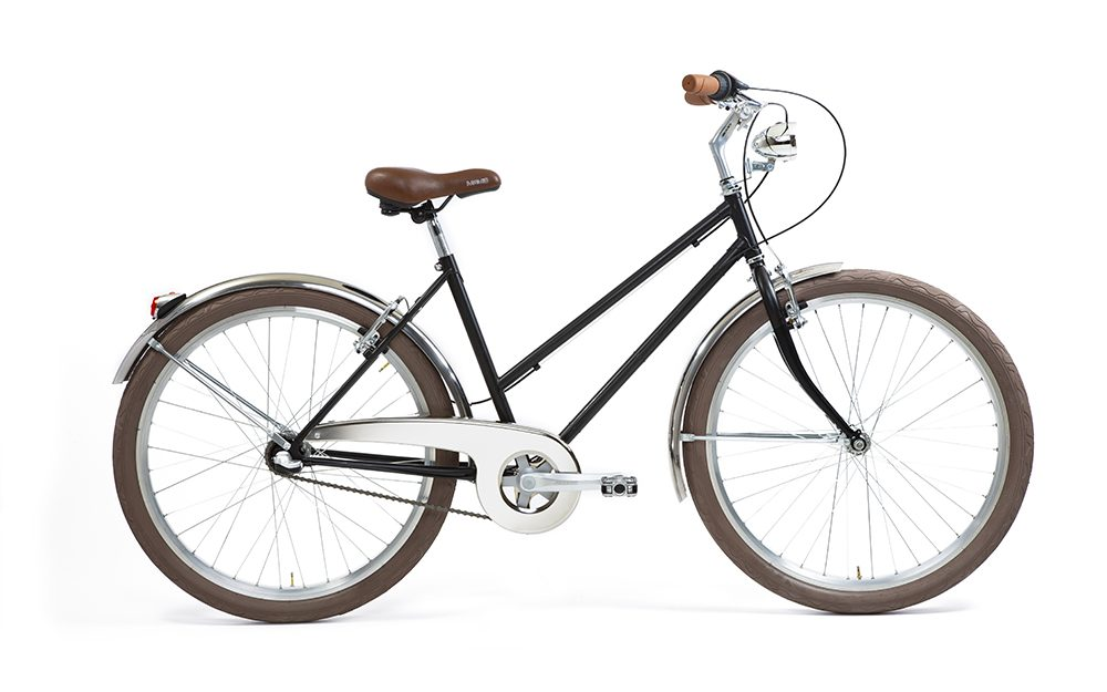 City bike donna nero opaco con accessori marroni
