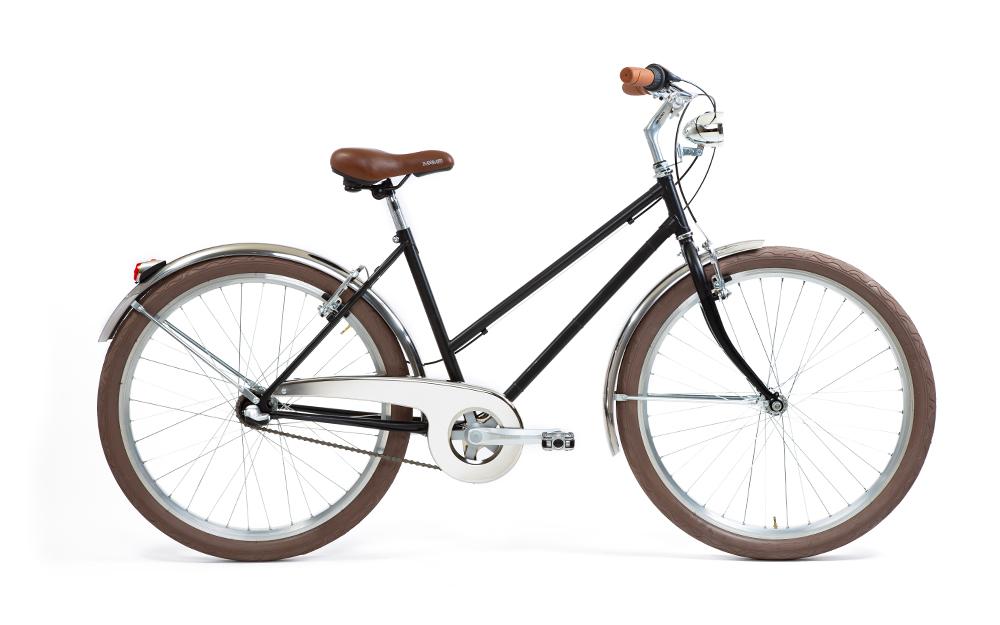 City bike donna nero opaco con accessori marroni